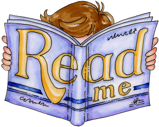 "Clipart of a child reading a giant book that says ""read me"""